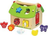 Сортер - Къщичка - Дървена играчка с фигури за сортиране -