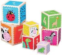 Кубчета с животни - Дървена образователна играчка -