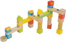 Писта със стъклени топчета - Дървен конструктор - играчка