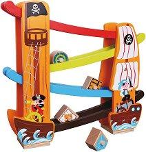 Пиратски кораб - Дървена писта с геометрични форми - играчка