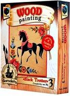 """Създай сам картина върху дърво - Черен кон - тротер - Творчески комплект от серията """"Wood Painting"""" -"""