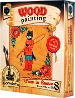 """Създай сам картина върху дърво - Котаракът в чизми - Творчески комплект от серията """"Wood Painting"""" - творчески комплект"""