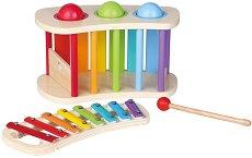 Ксилофон с игра - Комплект с 3 дървени топки и чукче - играчка