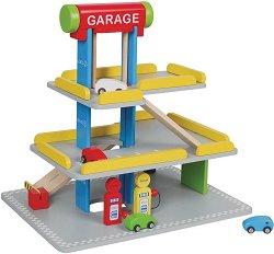 Паркинг с бензиностанция и автомивка - Комплект с 4 колички -