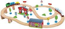 Товарен и пътнически влак с виадукт и гара - Дървена играчка с аксесоари -