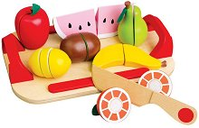 Плодове - Дървен комплект с табла и ножче за рязане - играчка