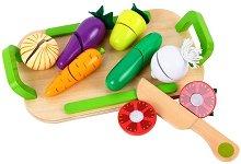 Зеленчуци - Дървен комплект с табла и ножче за рязане - играчка