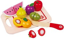 Плодове - Дървен комплект с дъска и ножче за рязане -