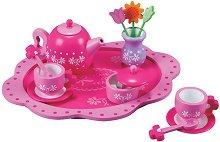 Сервиз за чай - Цветя - Дървен комплект за игра -