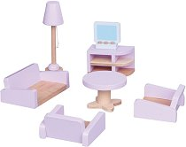 Хол - Дървено обзавеждане за куклена къща -
