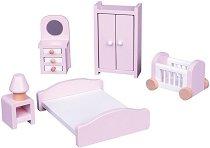 Спалня - Дървено обзавеждане за куклена къща - играчка