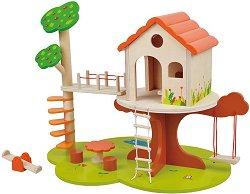 Дървена къща за кукли на дърво - Комплект с аксесоари -