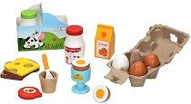 Продукти за закуска - Дървен комплект за игра - детски аксесоар