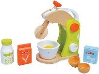 Миксер с продукти - Дървен комплект за игра - играчка