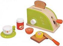 Тостер с продукти - Дървен комплект за игра - играчка