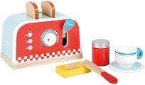 Тостер с аксесоари - Дървен комплект за игра - играчка