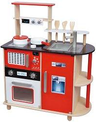Детска дървена кухня - Комплект за игра с аксесоари - играчка