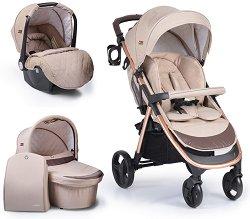 Бебешка количка 3 в 1 - Noble - С 4 колела -