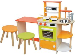 Детска дървена кухня с трапезария - Комплект за игра с аксесоари - играчка