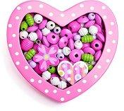 Дървени мъниста в кутия - Розово сърце - В комплект с връзки за нанизване