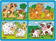 Животни и техните малки - Ферма - Детски дървен пъзел с дръжки -