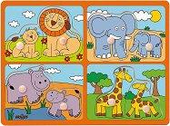 Животни и техните малки - Сафари - Детски дървен пъзел с дръжки -