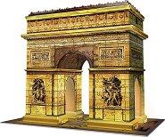 Триумфалната арка - 3D пъзел с LED светлини в различни цветове -