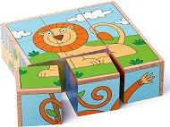 Дървени кубчета - Животни - Дървена образователна играчка -