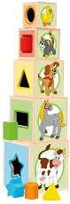 Кубчета с форми за сортиране - Животни - Дървена образователна играчка - играчка