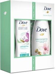 Подаръчен комплект - Dove Delicate Beauty - Душ гел и лосион за тяло - продукт