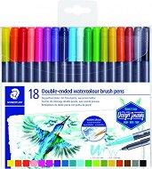 Акварелни двувърхи маркери - Marsgraphic Duo - Комплект от 18 или 36 цвята