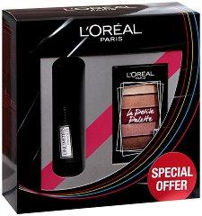 Подаръчен комплект - L'Oreal Unlimited & La Petite Palette - Спирала за мигли и мини палитра сенки за очи - крем