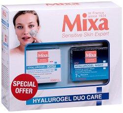 Подаръчен комплект - Mixa Hyalurogel Duo Care - Дневен и нощен крем за лице с хиалуронова киселина - продукт