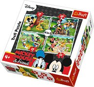 """Игра в парка - 4 пъзела в нестандартна форма от колекцията """"Мики Маус"""" - пъзел"""