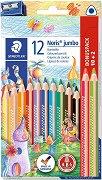Цветни моливи - Noris Jumbo - Комплект от 12 броя и острилка