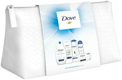 Подаръчен комплект с несесер - Dove Classic Beauty - Душ гел, мляко за тяло, крем сапун, дезодорант и шампоан -