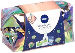 Подаръчен комплект с несесер - Nivea Urban Detox - Мицеларна вода, маска и крем за лице -