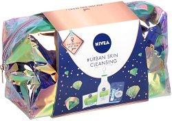 Подаръчен комплект с несесер - Nivea Urban Skin Cleansing - Мицеларна вода, крем за лице и балсам за устни - продукт