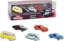 Ретро автомобили - Комплект от 5 различни модела метални колички -
