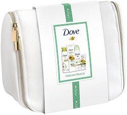 Подаръчен комплект с несесер - Dove Delicate Beauty - Душ пяна, лосион за тяло, дезодорант и крем за ръце - продукт