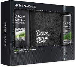 Подаръчен комплект за мъже - Dove Men+Care Elements - Душ гел, дезодорант и кърпа за лице -