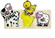 Животните от фермата - Детски дървен пъзел с дръжки - играчка