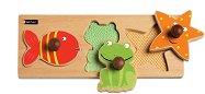 Воден свят - Детски дървен пъзел с дръжки - играчка