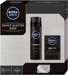"""Подаръчен комплект за мъже - Nivea Men Shave Master Deep - Гел за бръснене и лосион за след бръснене от серията """"Deep"""" - продукт"""