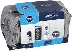 Подаръчен комплект за мъже с несесер - Nivea Men Active Care - Козметика за лице и тяло - мокри кърпички