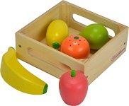 Щайга с плодове - Детски дървен комплект за игра -