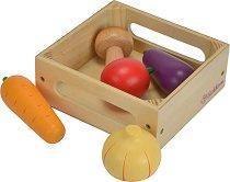Щайга със зеленчуци - Детски дървен комплект за игра -