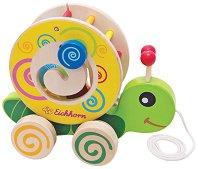 Охлювче с форми за сортиране - Дървена образователна играчка за дърпане -