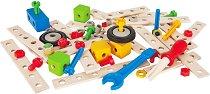 Детски дървен конструктор - Превозни средства - Комплект от 75 части - играчка