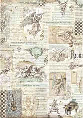 Декупажна хартия - Ангели и надписи - Формат А3